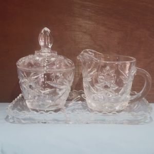 Glass Cream & Sugar Coffee Set w/ Tray - 3 Pieces